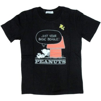PEANUTS (ピーナッツ) スヌーピー メンズ 半袖 Tシャツ メンズ 刺繍 ハウス 柄 薄手 黒 S