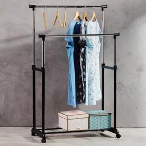 【晾曬專家】MIT 馬卡龍雙桿附置物底網雙桿伸縮曬衣架(外銷好品質)藍色