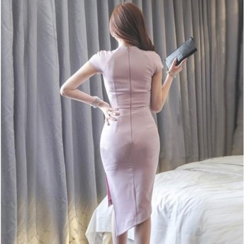 キャバドレス ファッション 韓国風 レディース Aライン ワンピ 服 女性 オフィス お洒落 マキシワンピ ワンピース きれいめ OL 可愛い ゆったり Vネック 通勤 373