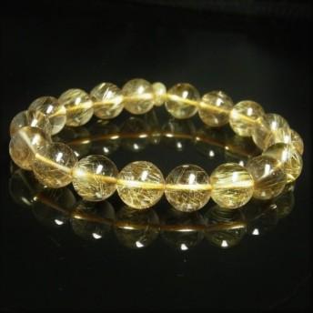 限定品 現品一点物 ゴールドルチル ブレスレット 勾玉ルチル 金針水晶 数珠 12ミリ 45g Mrb4 最強金運