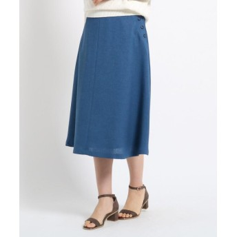 スーナウーナ フェイクボタンフレアスカート レディース ブルー(092) 40(L) 【SunaUna】