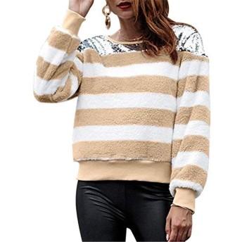 Qukick ウィメンズプラッシュロングスリーブストライプスウェットシャツ (色 : Aprikosen, サイズ : XL)