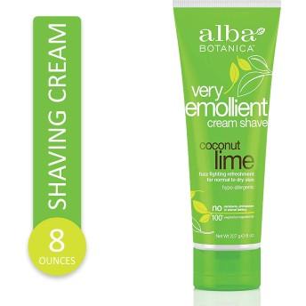 Alba Botanica 8 oz Very Emollient Cream Shave - Coconut Lime