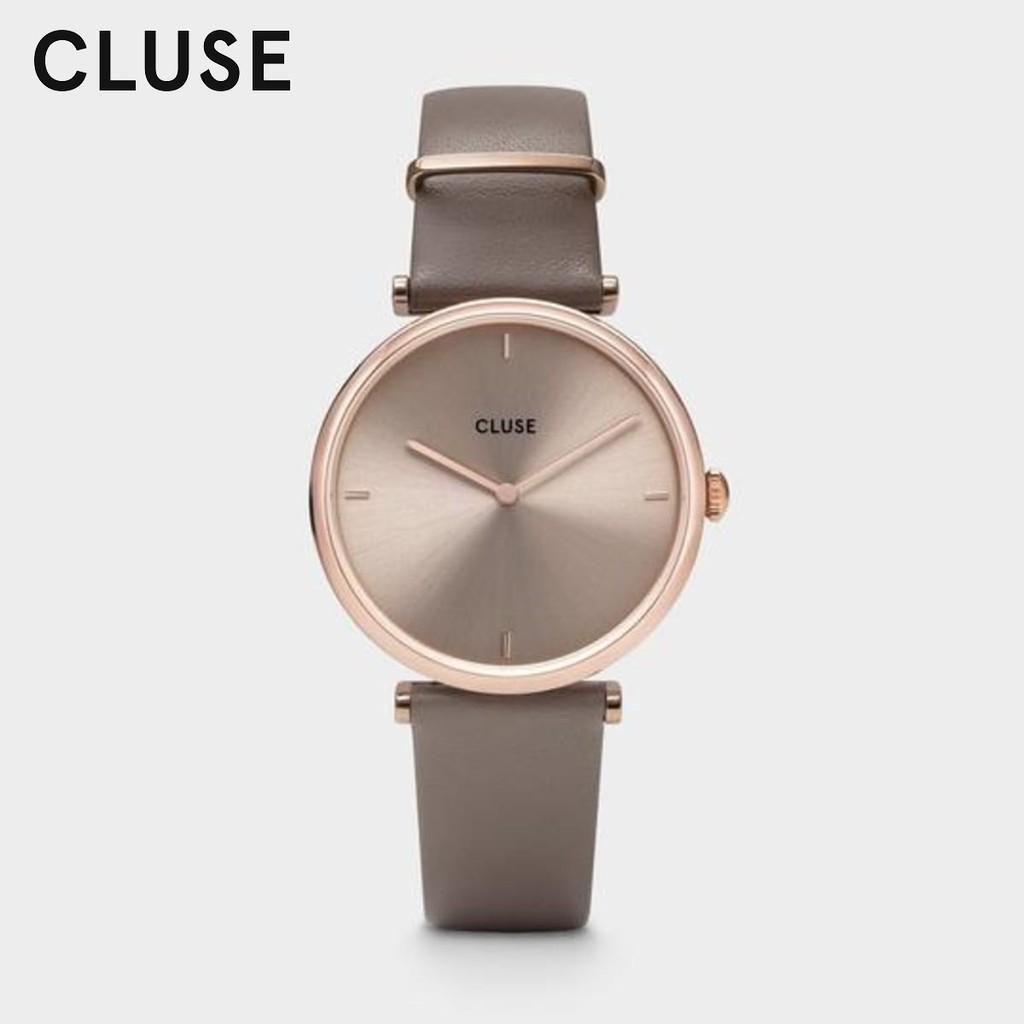 《 CLUSE 》荷蘭極簡薄型風格(CW08010)33mm/玫瑰金x灰褐色面x皮錶帶/台灣公司貨2年保固【第一鐘錶】