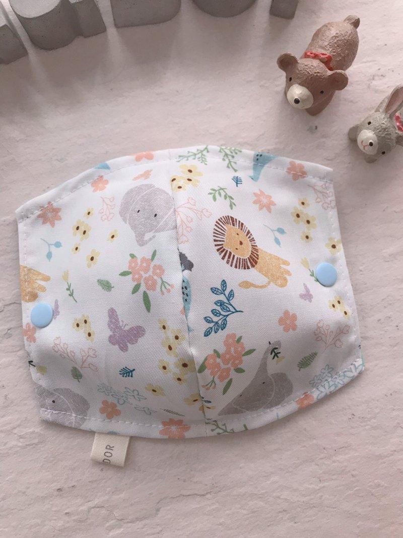 白版可愛動物園     兒童版、加大成人版手工純棉雙層紗口罩套