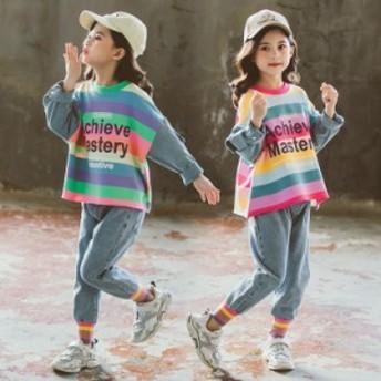 韓国子供服 女の子 長袖 春秋上下セット Tシャツトップス ストライプ ススデニムパンツ 長ズボン 可愛い おしゃれ 通学 新品 送料無料