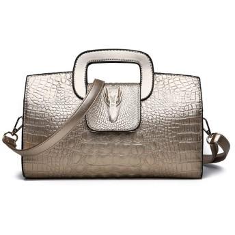 KAKACITY クラッチバッグ女性クロコダイル柄ハンドバッグハンドバッグレディーイブニングバッグ (色 : ゴールド)