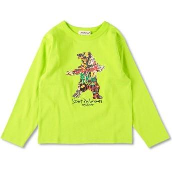 (RADCHAP/ラッドチャップ)ベアグラフィック長袖Tシャツ(90~130cm)/ ライム