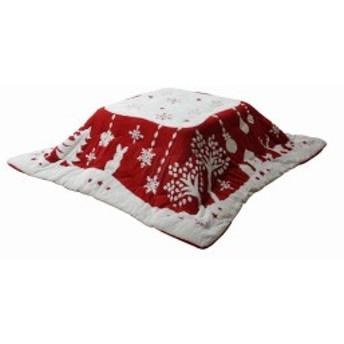 イケヒコ こたつ布団 正方形 ルネッタ 約190×190cm レッド 洗える フランネル #6814709