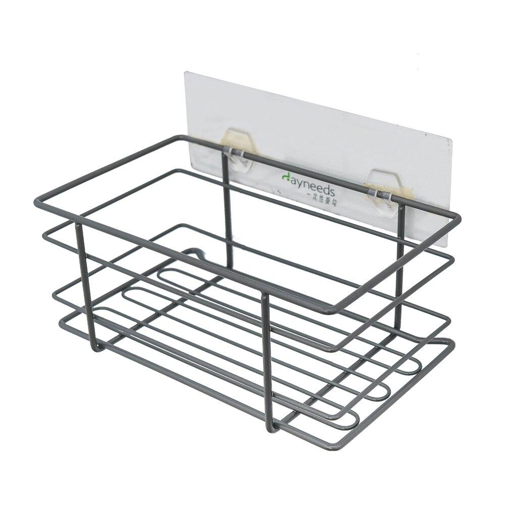 收納架/壁架收納/牆角架 一次性透明雙勾搭鐵線長方籃 dayneeds