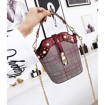 Pusaman カジュアルファッションのハンドバッグ、女性のバッグのハンドバッグ、ショルダーバッグメッセンジャーバッグチェーンバッグ (Color : Wine Red)