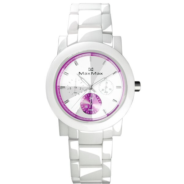 MAX MAX (MAS50803J-W1)璀璨耀眼三眼陶瓷腕錶/白紫