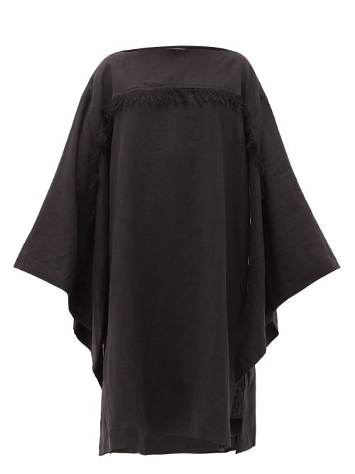 Fil De Vie - Skoura Fringed Linen Kaftan - Womens - Black