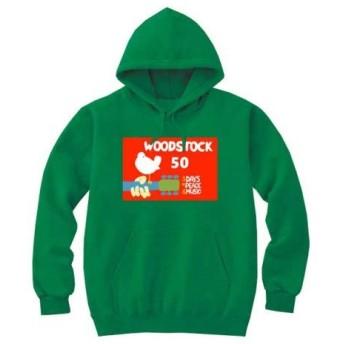 [8色]BANDLINE(バンドライン) Woodstock Festival ウッドストック フェスティバル バンド ロック パンク メタル パーカーケリーグリーン Sサイズ
