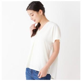 【ピンクアドベ/pink adobe】 【裾タックデザイン】Vネック異素材プルオーバー