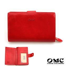 【OMC】11卡1照植鞣革舌扣零錢袋牛皮中夾(紅色)