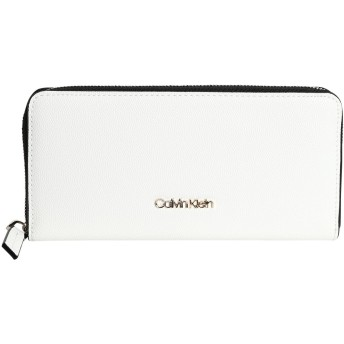 《セール開催中》CALVIN KLEIN レディース 財布 ホワイト ポリウレタン 100% CK MUST ZIPAROUND