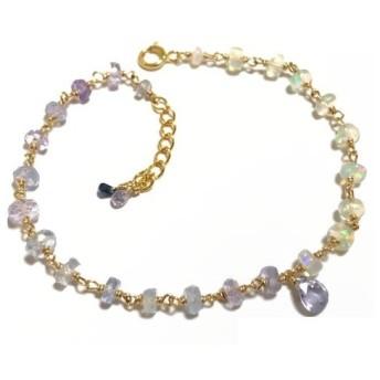 パープルサファイア×オパール Jewels ブレスレット(K14GF)