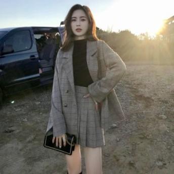 レディースファッション セットアップ ミニスカート プリーツ チェック レトロ カジュアル オルチャン 韓国 大きいサイズ