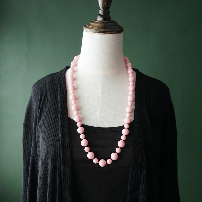 【古董飾品/西洋老件】VINTAGE粉紅色大小圓珠塑膠串珠古著項鍊