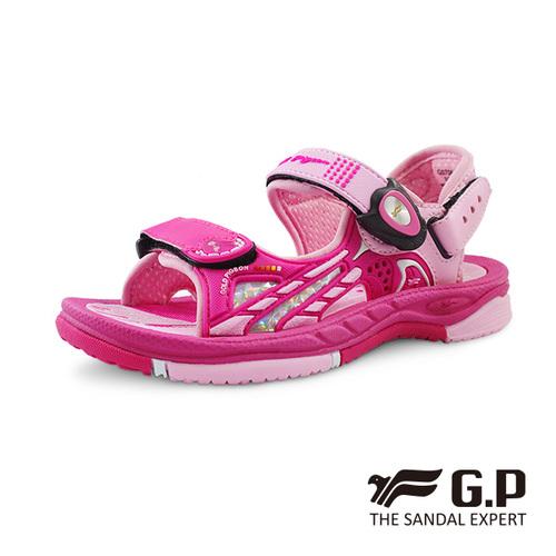 【G.P 兒童柔軟PLUS磁扣兩用涼拖鞋】G0706B-45 桃紅色 ( SIZE:26-30 共二色)