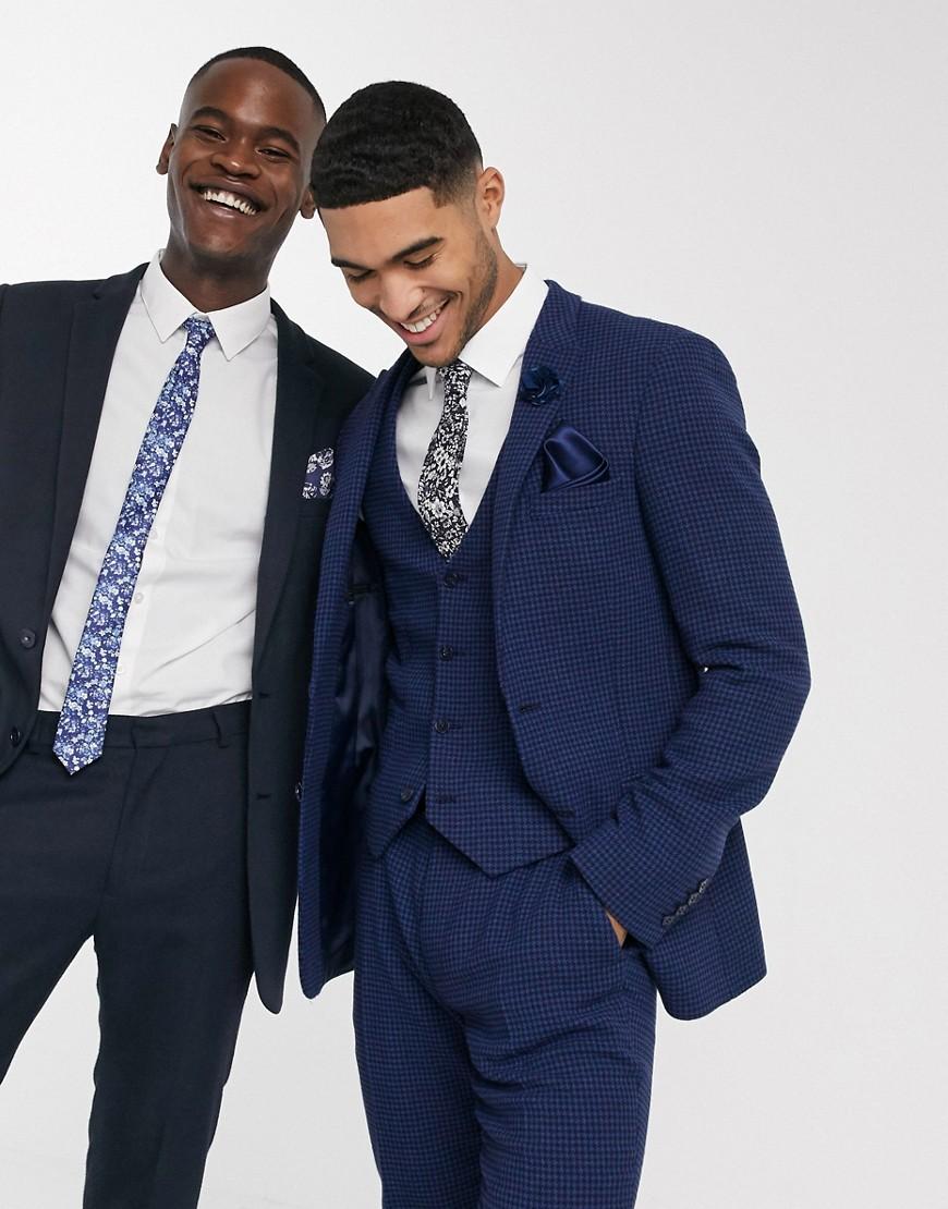 ASOS DESIGN wedding super skinny suit jacket in blue wool blend micro houndstooth
