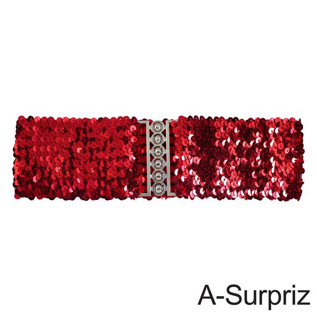 A-Surpriz 亮片金屬釦環彈性腰帶(紅)
