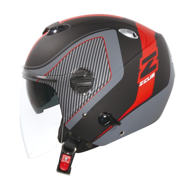 ZEUS 瑞獅 ZS-202FB  T43 3/4罩式安全帽 黑紅