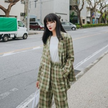 レディースファッション セットアップ パンツ チェック きれいめ カジュアル レトロ オルチャン 韓国