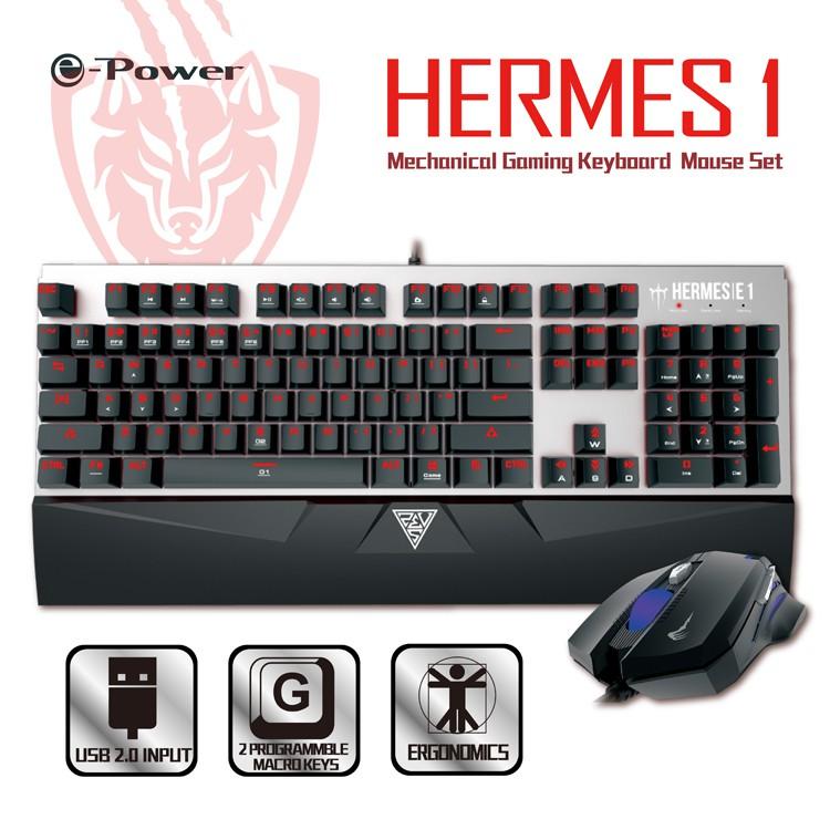 e-Power Hermes1 專業電競機械式鍵盤滑鼠組 鍵鼠組 人體工學設計 茶軸機械 USB 銀黑(福利品出清)