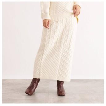 【オゾック/OZOC】 [洗える]ケーブルニットスカート