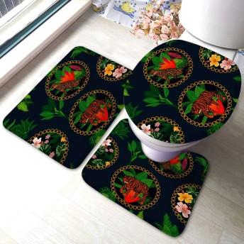 3ピースバスルームラグセットヒョウタイガースと熱帯植物エスニックコレクション低反発マットセット