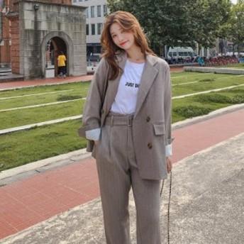 レディースファッション セットアップ パンツ シンプル ダブル きれいめ カジュアル オルチャン 韓国 レトロ 大きいサイズ