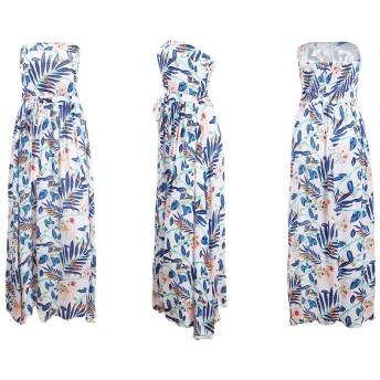 女性のドレス 女性のストラップレスの花柄プリントAラインドレス夏のチューブトップドレス (Color : White, Size : XL)
