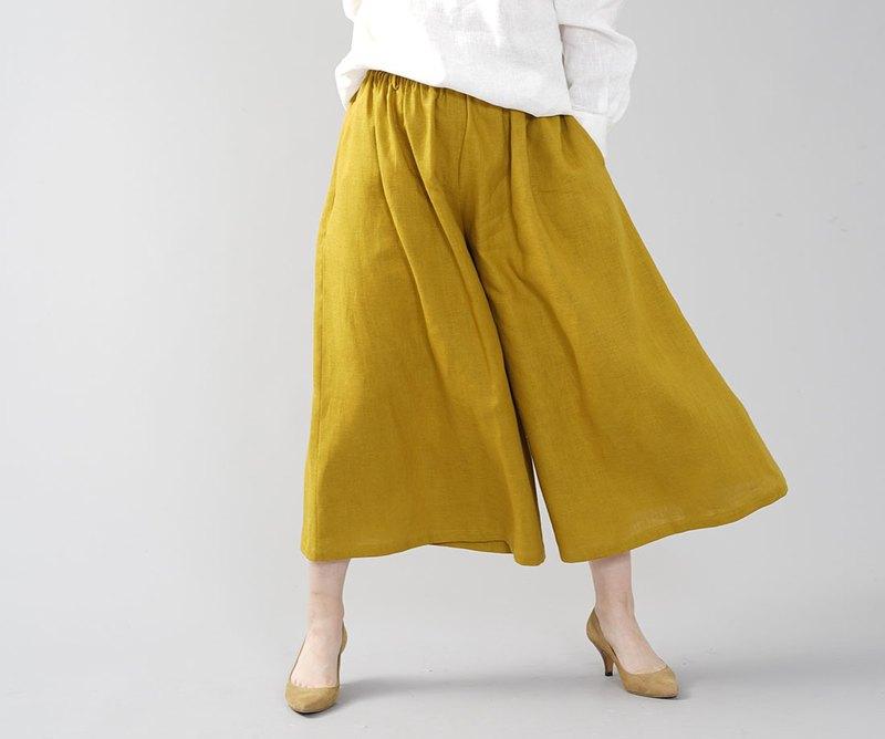 wafu 中厚麻寬褲 Scarcho 裙褲褲褲下裝寬七分褲腰彈力 Gaucho / Mustard b002a-mtd2