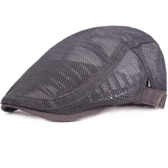 ハンチング キャップ メンズ コットンフラットキャップ ビンテージ ベレー帽 メンズ通気性メッシュサマーハット調整可能なニュースボーイベビーアイビーキャップキャビィフラットキャップ アウトドア ゴルフ トレッキング (Color : Gray)