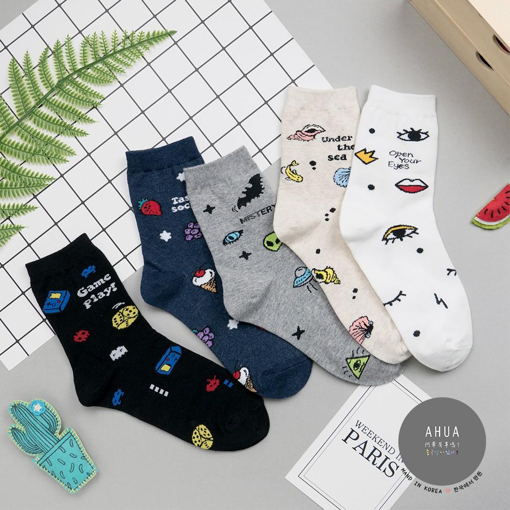 AHUA阿華有事嗎 韓國襪子 滿版美式插畫中筒襪 K0708 正韓少女襪 韓妞必備卡通襪 百搭純棉襪 素色襪子
