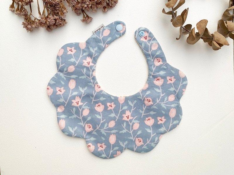 藍底粉花 寶寶六層紗後扣圍兜