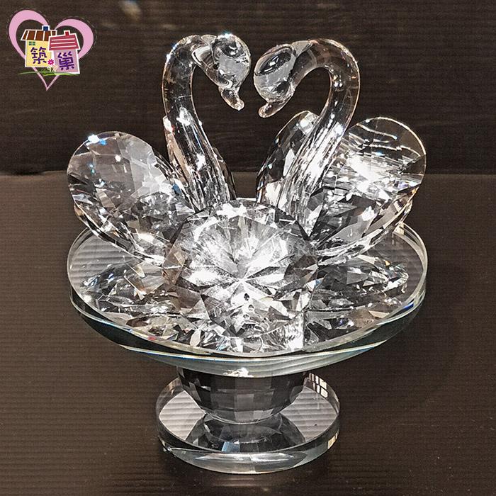愛戀天鵝雙愛心鑽石鏡面迷你轉盤【築巢傢飾】