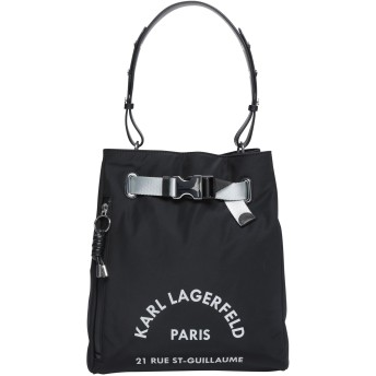 《セール開催中》KARL LAGERFELD レディース ハンドバッグ ブラック ナイロン 78% / 牛革 22% Rue St Guillaume Medium Hobo