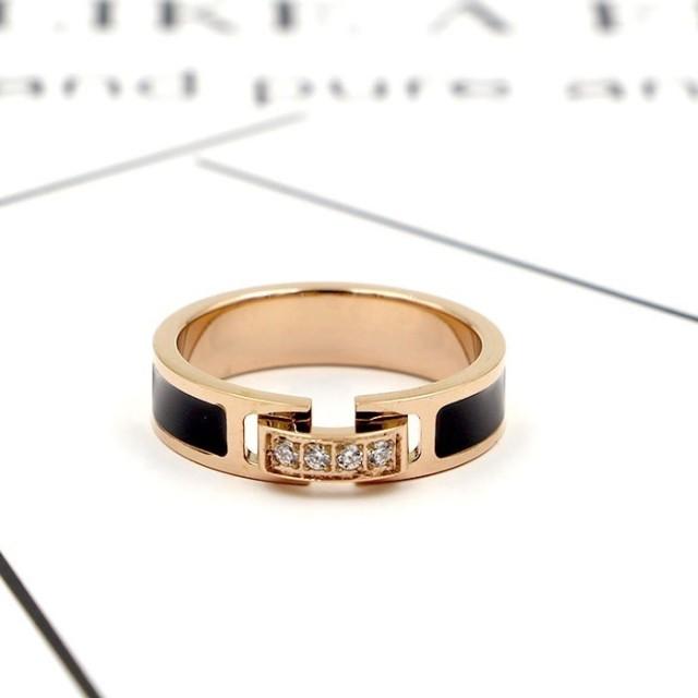 【レディースジュエリーステンレ ス316L 18Kgf ピンクゴールド リング 指輪 】ブラック ダイヤ 個性的 リング 指輪アクセサリー 関節リング ピンキーリング 色落ちしない高品質!
