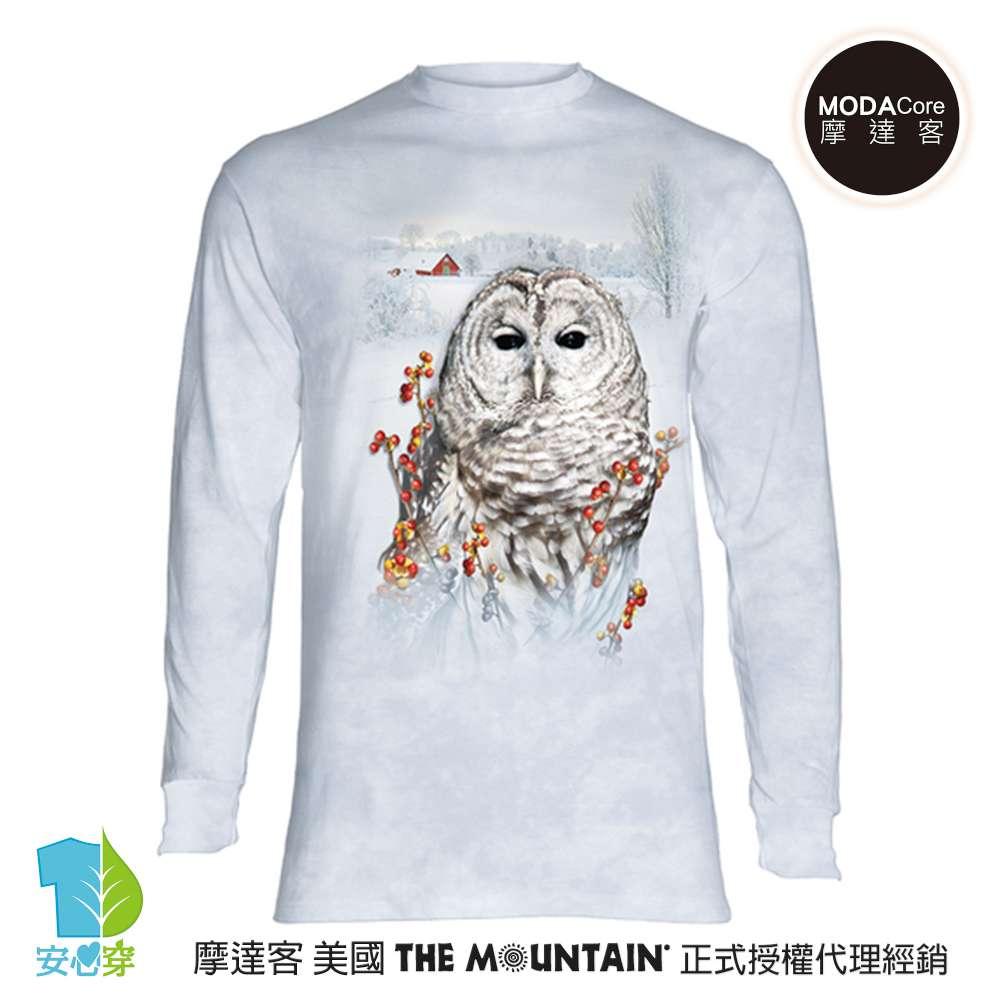 摩達客-(預購)美國進口The Mountain 秋之貓頭鷹 純棉長袖T恤