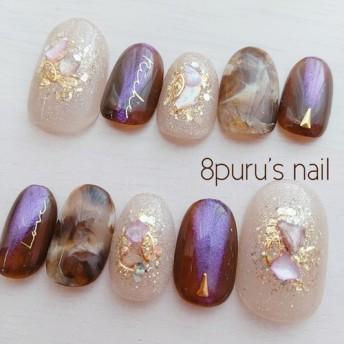 nail tip 22 クレマ ブラウンニュアンスネイルチップ