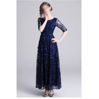 宴会ドレススリーブヘビーワークスパンコールガーゼロングスカート刺繍春と夏のドレス (Color : Picture color, Size : 2XL)