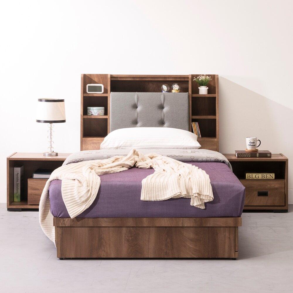 直人木業  OAK橡木3.5尺單人加大收納床組  床頭貓抓皮 床底3抽
