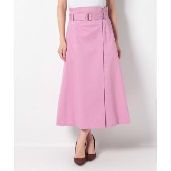 (allureville/アルアバイル)チノストレッチアシメラップスカート/レディース ピンク
