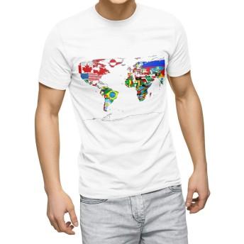 igsticker プリント Tシャツ メンズ L size おしゃれ クルーネック 白 ホワイト t-shirt 013184 地図 世界地図