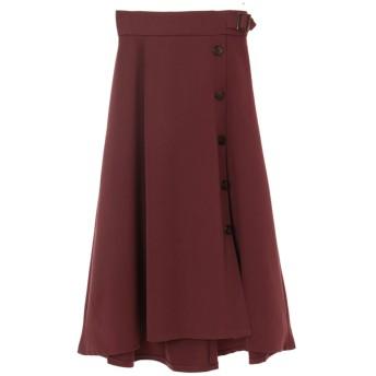 【スカート】フロント釦フレアスカート