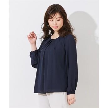 【大きい胸専用】タック入長袖ジョーゼットブラウス グラマーサイズ(ブラウス)Shirts, 衫, 襯衫