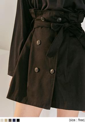 韓國空運 - 壓褶雙排釦後腰鬆緊短裙 裙子